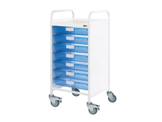 Vista 55 Medical Trolley - 7 Single Blue Trays