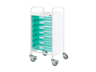 Vista 55 Hospital Trolley - 7 Single Green Trays