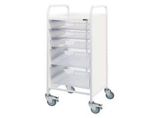 Vista 55 Hospital Trolley - 3 Single/2 Double Clear Trays