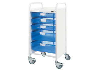Vista 55 Hospital Trolley - 3 Single/2 Double Blue Trays