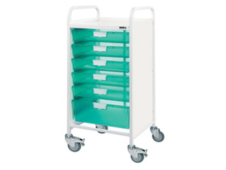 Vista 55 Hospital Trolley - 3 Single/2 Double Green Trays