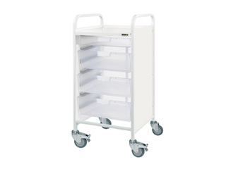 Vista 55 Hospital Trolley - 1 Single/3 Double Clear Trays