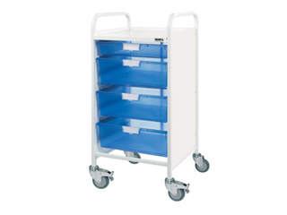 Vista 55 Hospital Trolley - 1 Single/3 Double Blue Trays