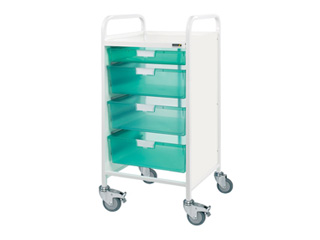 Vista 55 Hospital Trolley - 1 Single/3 Double Green Trays