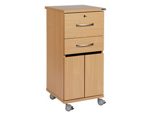 Bedside Cabinet with Castors & Locking Top Drawer (Laminate Faced MDF)