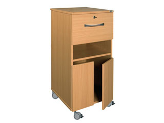 Bedside Cabinet with Castors & Single Locking Top Drawer (MFC Material)