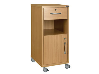 Bedside Cabinet with Castors, Locking Top Drawer & Locking Cupboard (Laminate Faced MDF)
