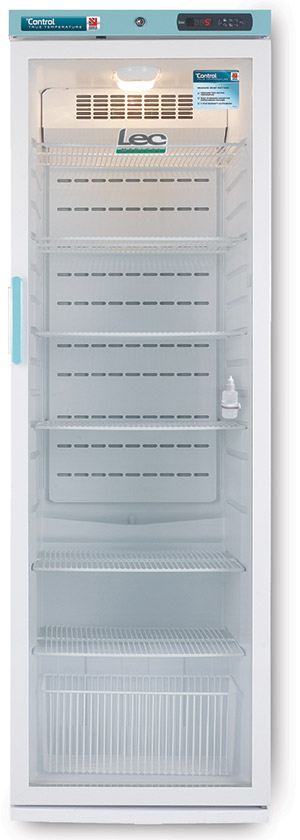 LEC Control PGRC353UK Pharmacy Fridge 353L with Glass Door