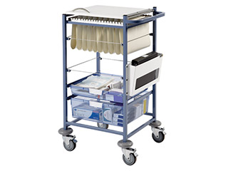 Medical Notes Trolley (small) with Open Sides & Hinged Locking Top