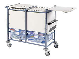 Medical Notes Trolley (Large) with Enclosed Sides & Hinged Locking Tops