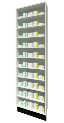 Full Height Unit 215mm Depth with Nine Shelves