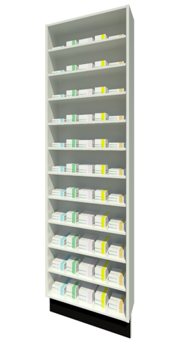 Full Height Unit 215mm Depth with Ten Shelves