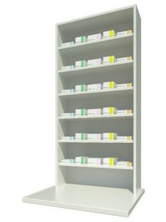 Overbench Unit with Six Shelves