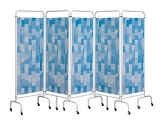 Five Panel Screen - Blue Patchwork
