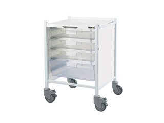 Vista 40 Trolley - 3 Single/1 Double Clear Tray