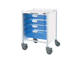 Vista 40 Trolley - 3 Single/1 Double Blue Tray