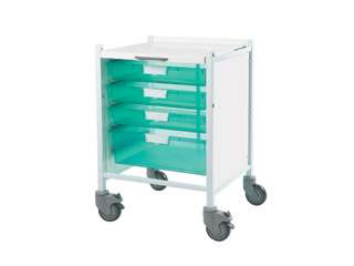 Vista 40 Trolley - 3 Single/1 Double Green Tray