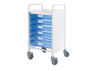 Vista 50 Medical Trolley - 6 Single Blue Trays