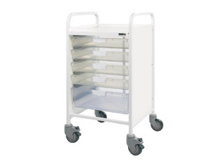Vista 50 Medical Trolley - 4 Single/1 Double Clear Tray
