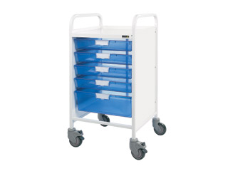 Vista 50 Medical Trolley - 4 Single/1 Double Blue Tray