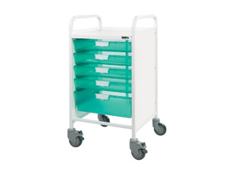 Vista 50 Medical Trolley - 4 Single/1 Double Green Tray