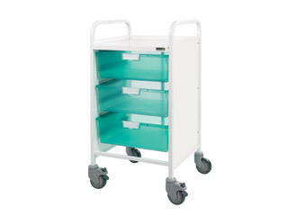 Vista 50 Medical Trolley - 3 Double Green Trays