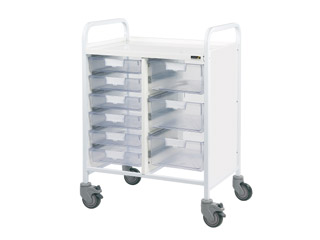 Vista 60 Medical Trolley - 6 Single/3 Double Clear Trays