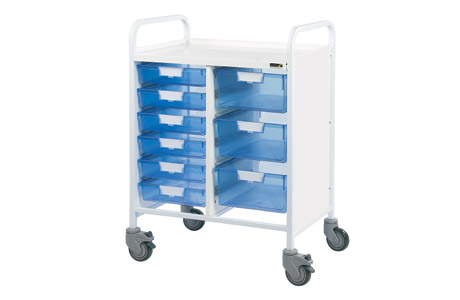 Vista 60 Medical Trolley - 6 Single/3 Double Blue Trays