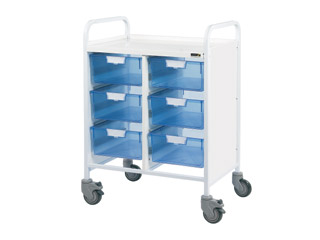 Vista 60 Medical Trolley - 6 Double Blue Trays