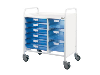 Vista 80 Medical Trolley - 6 Single/3 Double Blue Trays