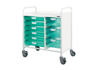 Vista 80 Medical Trolley - 6 Single/3 Double Green Trays