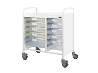 Vista 80 Medical Trolley - 8 Single\2 Double Clear Trays