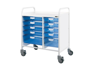 Vista 80 Medical Trolley - 8 Single\2 Double Blue Trays