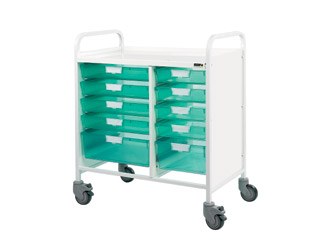Vista 80 Medical Trolley - 8 Single\2 Double Green Trays