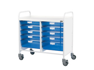Vista 10 Medical0 Trolley - 8 Single/2 Double Blue Trays