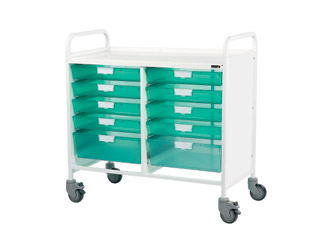 Vista 10 Medical0 Trolley - 8 Single/2 Double Green Trays