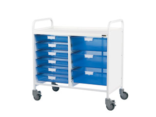 Vista 10 Medical0 Trolley - 6 Single/3 Double Blue Trays