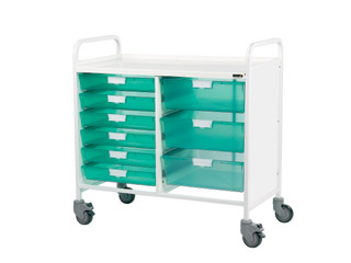 Vista 10 Medical0 Trolley - 6 Single/3 Double Green Trays