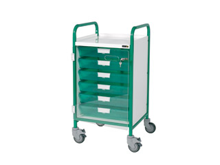 Vista 40 Green Clinical Trolley - 5 Single Green Trays