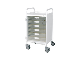 Vista 40 White Clinical Trolley - 5 Single Clear Trays