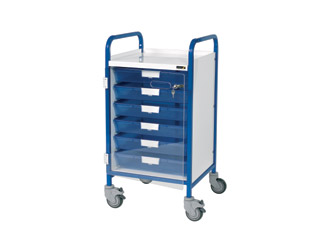 Vista 50 Blue Clinical Trolley - 6 Single Blue Trays