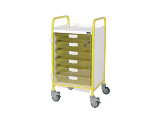 Vista 50 Yellow Clinical Trolley - 6 Single Yellow Trays