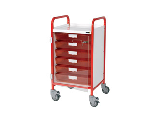 Vista 50 Red Clinical Trolley - 6 Single Red Trays