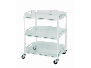 Dressing Trolleys - 3 Glass Effect Safety Trays