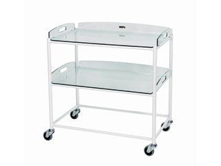 Dressings Trolley - 2 Glass Effect Safety Trays