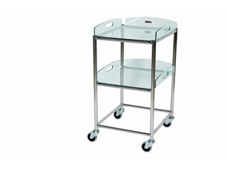 Surgical Trolley - 2 Glass Effect Safety Trays - Length 460mm