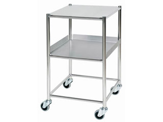 Surgical Trolley - 1 Stainless Steel Shelf & 1 Tray - Length 460mm