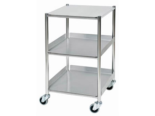 Surgical Trolley - 1 Stainless Steel Shelf & 2 Trays - Length 460mm