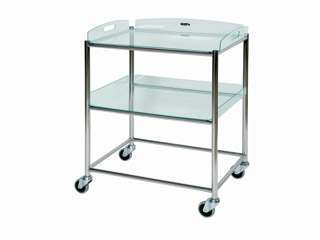 Surgical Trolley - 2 Glass Effect Safety Trays - Length 660mm