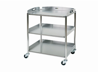 Surgical Trolley - 3 Stainless Steel Trays - Length 660mm